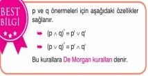 De Morgan Kuralları Mantık 9. Sınıf
