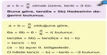 Bir Açının Trigonometrik Değerlerinin Dar Açı Cinsinden Yazılması 11. Sınıf